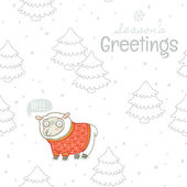 Greeting card with sheep in knitted sweater — Stock Vector