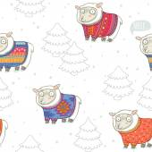 Seamless pattern with cute sheep in knitted sweaters — Stock Vector