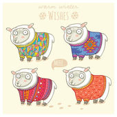 Vector new year card with cute four sheep in knitted sweaters — Vettoriale Stock