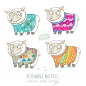 Vector new year card with cute four sheep in knitted sweaters — Stock vektor
