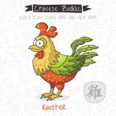 Chinese Zodiac. Sign Rooster — Stock Vector