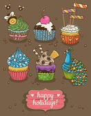 Set of party cupcakes with different toppings — Stock Vector