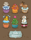 Set of winter cupcakes with different toppings — Stock Vector