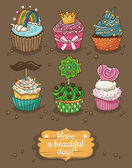 Set of delicious cupcakes with different toppings — Stock Vector