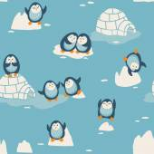 Seamless pattern with little cute penguins — Stock Vector
