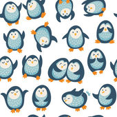 Cartoon vector seamless pattern with penguins — Stockvektor
