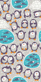 Cartoon vector seamless pattern with funny penguins. Cute background — Cтоковый вектор