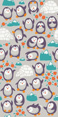 Cartoon vector seamless pattern with cute penguins. Funny background — Stock Vector