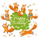 Happy birthday card in cartoon style. Cute foxes in vector — Vettoriale Stock