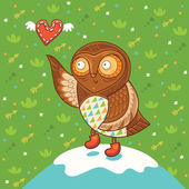 Cute cartoon owl with heart — Stockvektor
