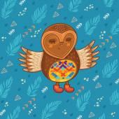 Cute cartoon owl flying in the sky — Stock Vector