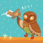 Cute cartoon owl with wooden toy airplane — Stock Vector