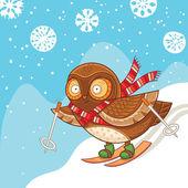 Cute cartoon owl skiing and having fun — Stock Vector