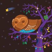 Cute cartoon owl sleep on the magic tree — Stock Vector
