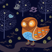 Cute cartoon owl in the night forest with ghosts — Stock Vector