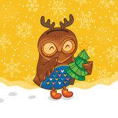 Happy owlet with tree — Stock Vector