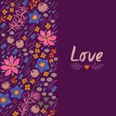Carte floral avec coeur — Vecteur