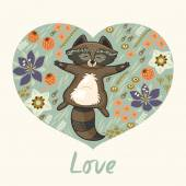 Floral heart with raccoon — Stockvektor