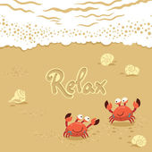 Vector cute Illustration of crabs and lettering on the sand. Relax — Stock Vector