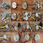 Collages Repair of watches — Stockfoto