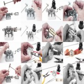 Collages Repair of watches — Stock Photo