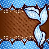 Brown & blue background inspired by Indian mehndi designs — Vettoriale Stock