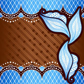 Brown & blue background inspired by Indian mehndi designs — 图库矢量图片