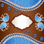 Brown & blue banner inspired by Indian mehndi designs — Vettoriale Stock