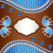 Brown & blue banner inspired by Indian mehndi designs — Stock Vector