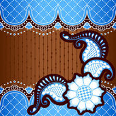 Brown & blue background inspired by Indian mehndi designs — Stockvektor