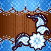 Brown & blue background inspired by Indian mehndi designs — Stock vektor