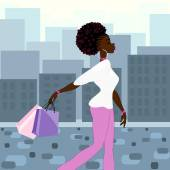 Dark-skinned woman shopping in the city — Stock vektor