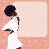 Dark-skinned woman on a pink background — 图库矢量图片