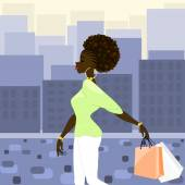 Dark-skinned woman shopping in the city — Stock Vector