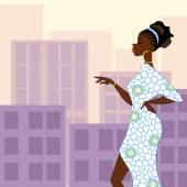 Dark-skinned woman in the city — Vector de stock