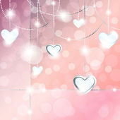 Sparkly banner with heart-shaped pendants — Vector de stock