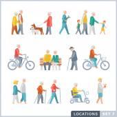 Older People on the street. Neighbors. — Stock Vector