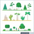 Set of trees, rocks, bushes and grass. — Stock Vector #81656726