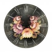时钟与鲜花. — 图库照片