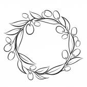 Olive wreath frame. — Vecteur