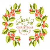 Christmas mistletoe branch frame. — Stock vektor