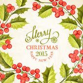 Vánoční jmelí karta. — Stock vektor