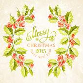 Christmas mistletoe branch frame. — Stock Vector