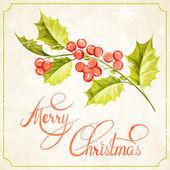 Christmas mistletoe branch drawing. — Stock vektor