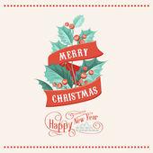 Christmas mistletoe card. — Stock Vector