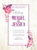 Printable vintage marriage invitation. — Stock Vector