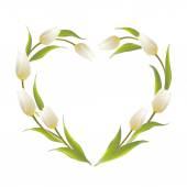Tulip heart frame. — Stock Vector
