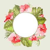 Тропический цветочная рамка. — Cтоковый вектор