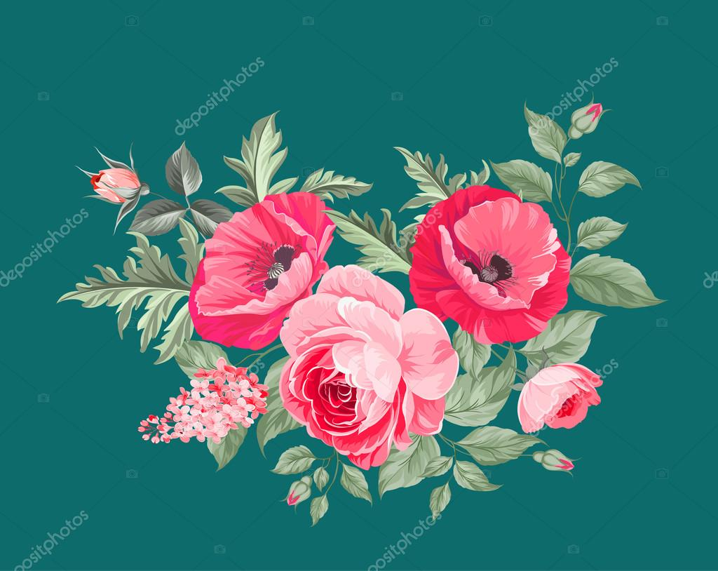 Background image 7945 - Background With Poppies Stock Illustration