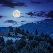 Fence on hillside meadow in mountain at night — Stock Photo
